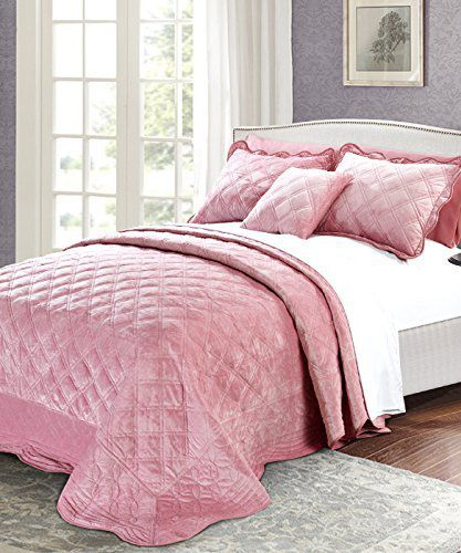 Serenta Super Soft Microplush Quilted 4 Piece Bedspread Set, King, Pink