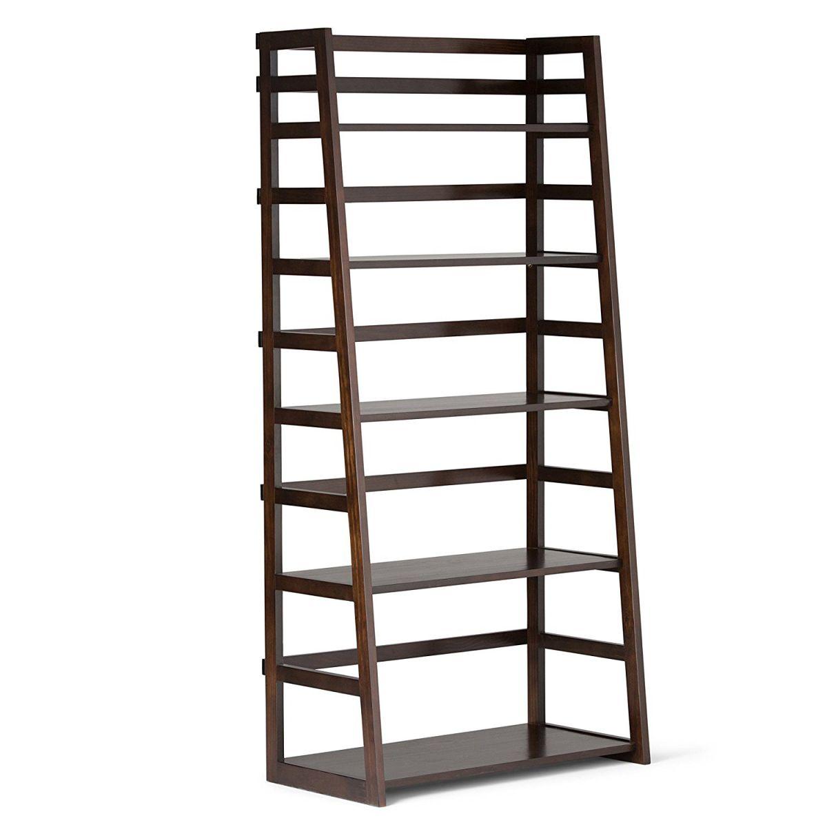 Simpli-Home-Acadian-Ladder-Shelf-Bookcase-Rich-Tobacco-Brown