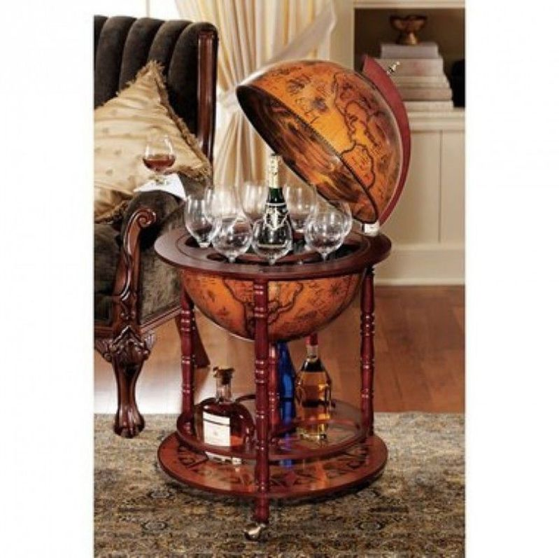 Sixteenth-Century Italian Replica Old World Globe Bar Cabinets for Home