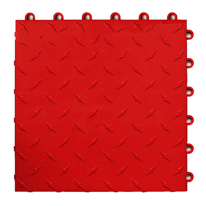 Speedway Garage Tile Interlocking Garage Flooring 6 LOCK Diamond Tile Red