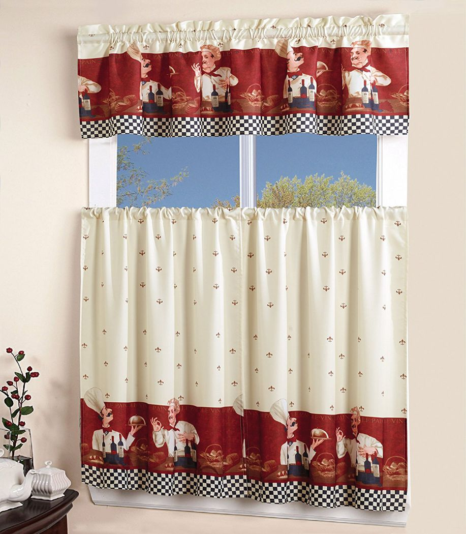 Sunrise-3-Piece-Printed-Floral-Kitchen-Cafe-Curtain-With-Swag-and-Tier-Window-Curtain-Set-Chef