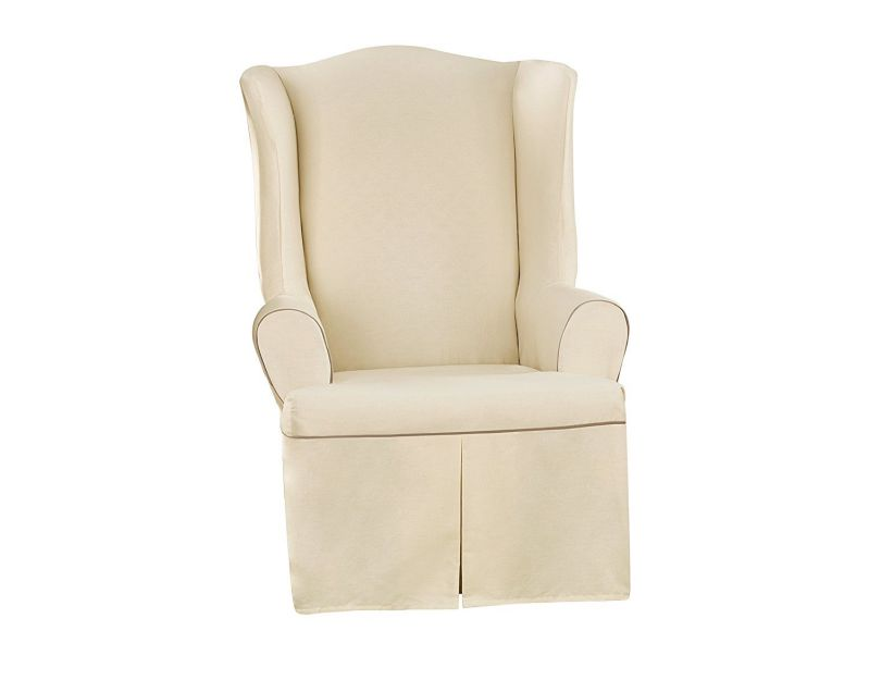 Sure Fit Cotton Duck - Wing Chair Slipcover SF40799