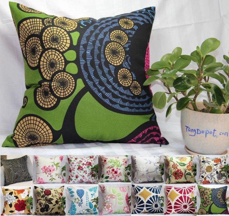 TangDepot Cotton Floral Printcloth Decorative Throw Pillow Covers