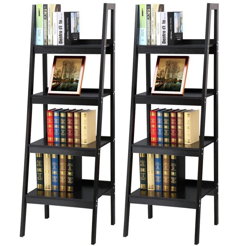Topeakmart-4-Shelf-Floor-Standing-Leaning-Ladder-Shelf-Blackwith-Metal-Legs