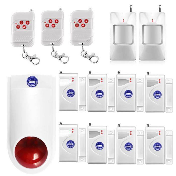 Vinker-VK-12A-Standalone-Door-and-Window-Spot-Alarm-System-DIY-Kit-Wireless-Home-Security-Burglar-Alarm-System-Indoor-Outdoor-Strobe-Siren-Keyfob-Remotes-and-Motion-Sensors