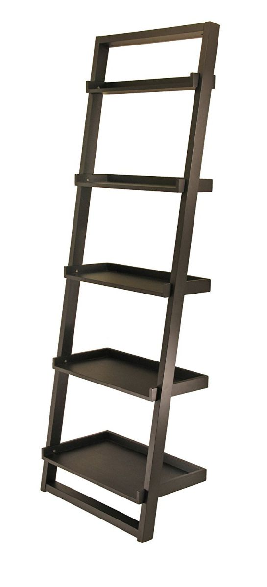 Winsome-Wood-Bailey-Leaning-5-Tier-Shelving-Unit-Black