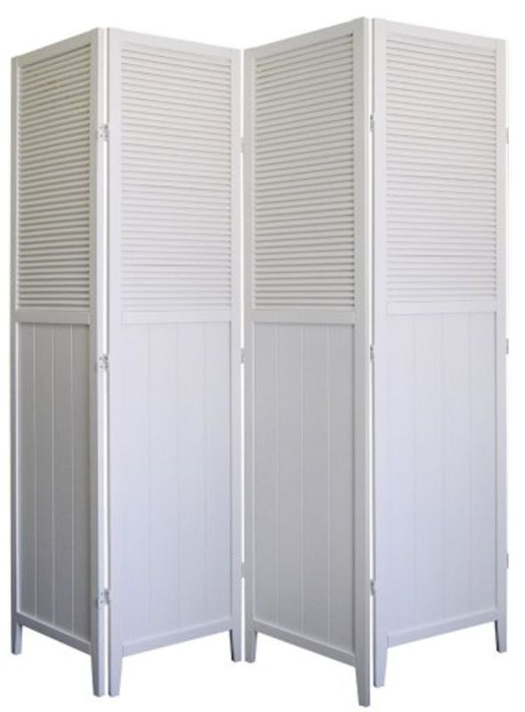 Wood Shutter Door 4-Panel Room Divider, WHITE