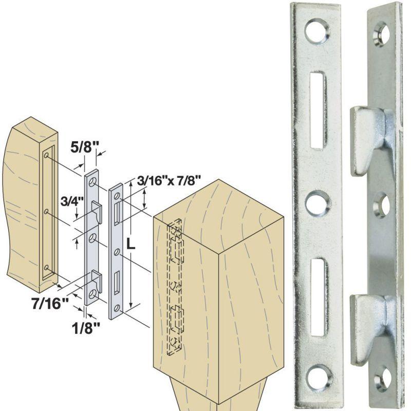 Woodtek-160550-Hardware-Furniture-Bed-Hardware-5-inch-Bed-Rail-Fasteners-Clear-Zinc-4-Pair