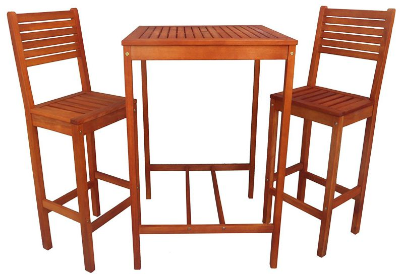 Zen Garden Eucalyptus 3-Piece Bar Set with Bar Height Table and 2 Bar Chairs