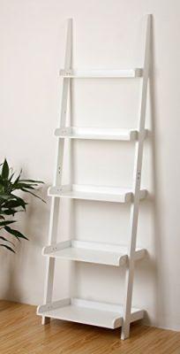 eHemco-5-Tier-Bookcase-Shelf-Ladder-in-White-Finish