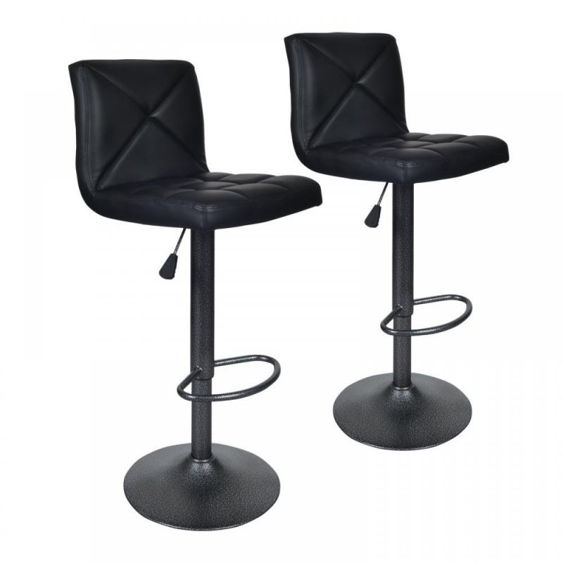 2-PU-Leather-Modern-Adjustable-Swivel-Barstools-Hydraulic-Chair-Bar-Stools-BT10-Black