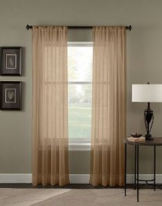 2-Piece-Solid-Taupe-Sheer-Curtains-Panels-Window-Treatment-Drape