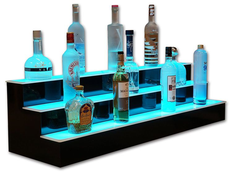 3-Tier-LED-Lighted-Liquor-Display-Bar-Shelves-with-High-Gloss-Black-Finish-NeXus-LED-Remote-Control-Lighting