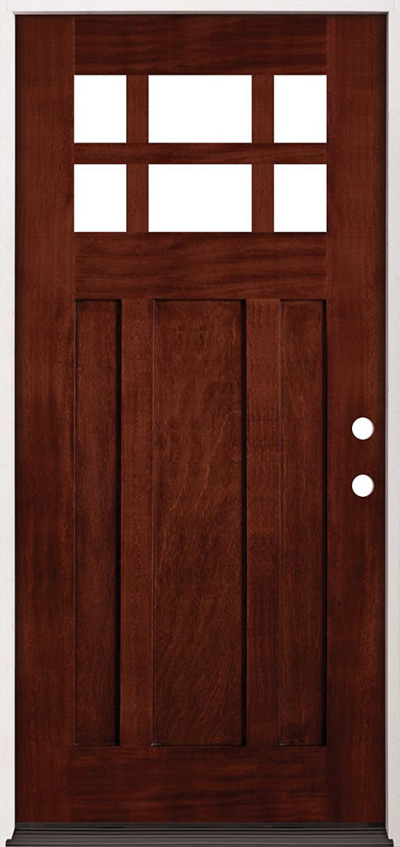 6-Lite-Craftsman-Mahogany-Wood-Entry-Double-Door-43-Left-Hand-Single-Left-Handing