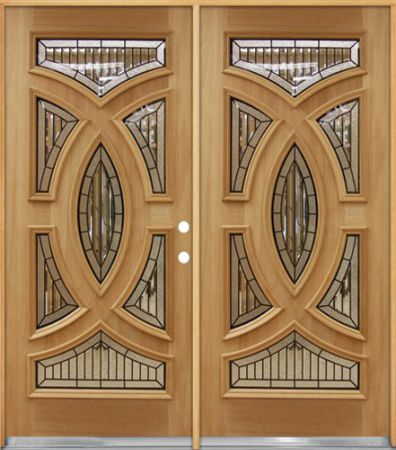Baseball-Mahogany-Wood-Entry-Double-Door-A802522-Left-Hand
