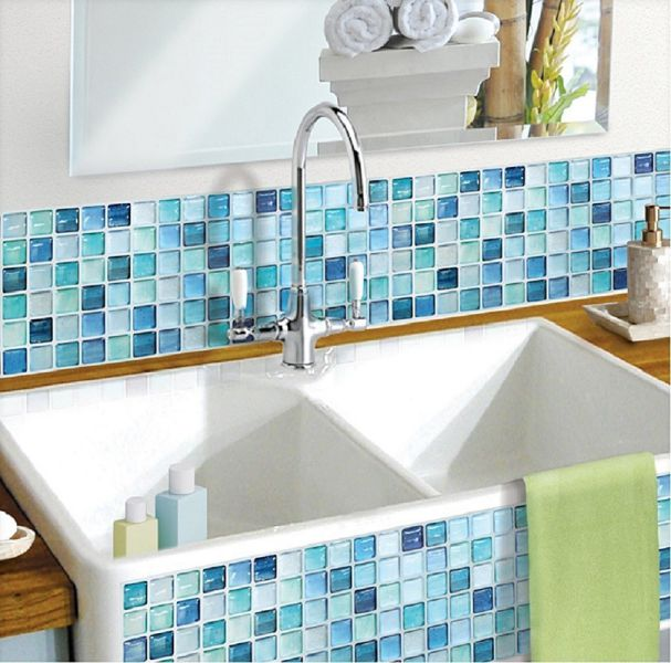 Beaustile-Mosaic-3D-Wall-Sticker-Home-Decor-N-Blue-Fire-Retardant-Backsplash-Wallpaper-Bathroom-Kitchen-DIY-Plain-Design