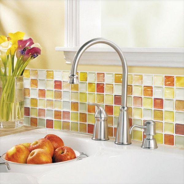 Beaustile-Orange-Mosaic-3D-Wall-Sticker-Pack-of-2-Home-Decor-Fire-Retardant-Backsplash-Wallpaper-Bathroom-Kitchen-DIY-Plain-Design