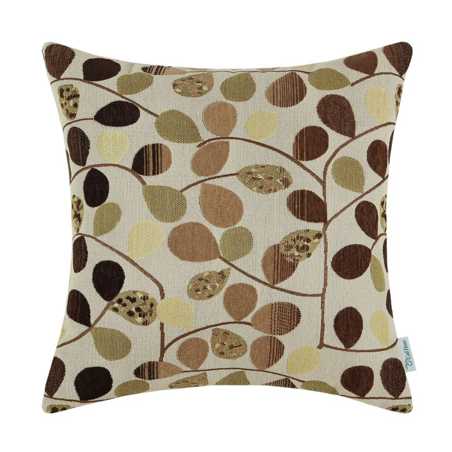 CaliTime-Throw-Pillow-Cover-18-X-18-Inches-Luxury-Chenille-Cute-Leaves-Reversible-Ecru-Brown