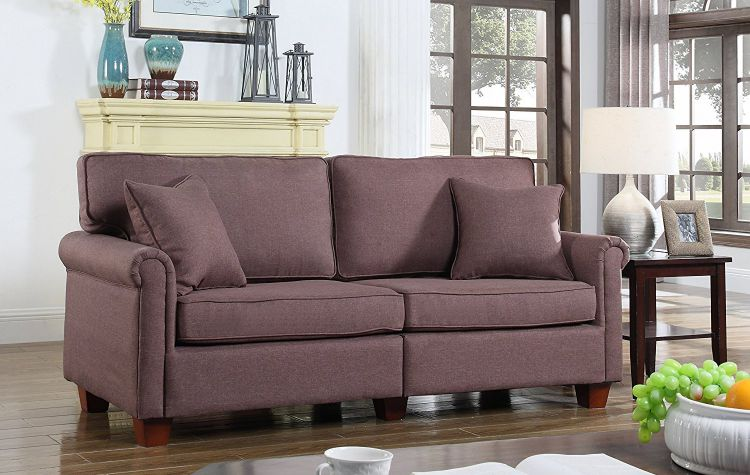 Classic-73-inch-Love-Seat-Living-Room-Linen-Fabric-Sofa-Brown