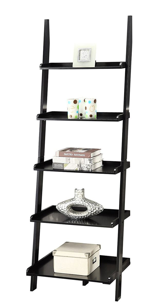 Convenience-Concepts-American-Heritage-Bookshelf-Ladder-Black