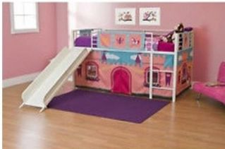 Girls-Loft-Bed-With-Slide-Princess-Tent-Canopy-Castle-Twin-With-Curtain-Bunk-Bed