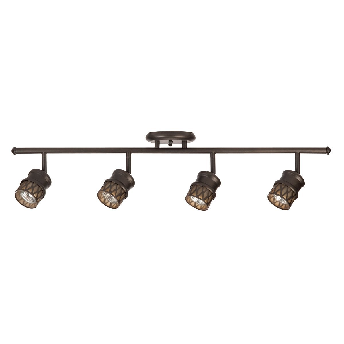 Globe-Electric-4-Light-Adjustable-Track-Lighting-Kit-Oil-Rubbed-Bronze-Finish-Champagne-Glass-Track-Heads-4x-MR16-GU10-Bulbs-Included-59063-1