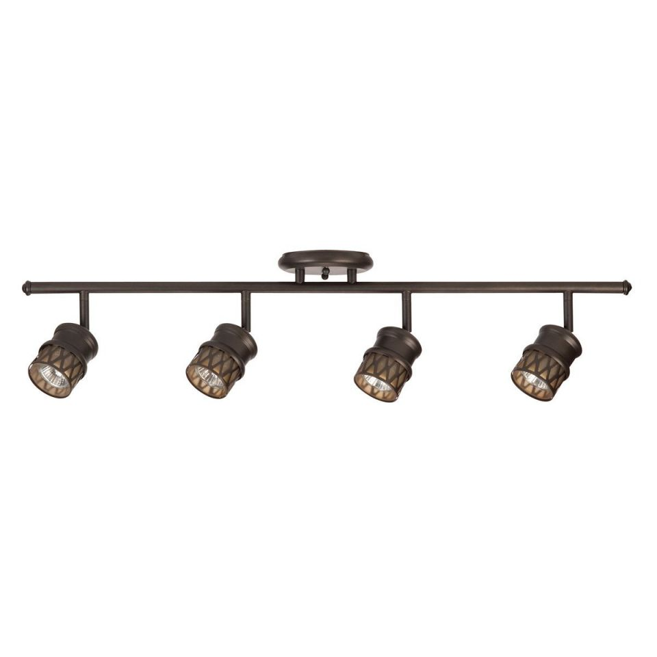 Globe-Electric-4-Light-Adjustable-Track-Lighting-Kit-Oil-Rubbed-Bronze-Finish-Champagne-Glass-Track-Heads-4x-MR16-GU10-Bulbs-Included-59063