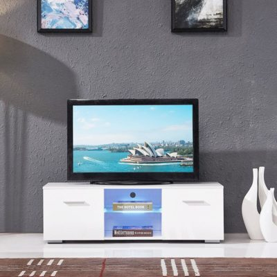 High-Gloss-TV-Stand-Unit-Cabinet-with-LED-Shelves-2-Drawers-Console-Furniture-White-400x400