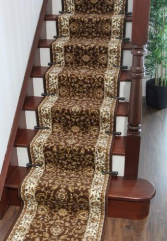 Lima-199-Extra-Long-Brown-Beige-Border-Floral-Stair-Runner-Rugs-90cm-Wide