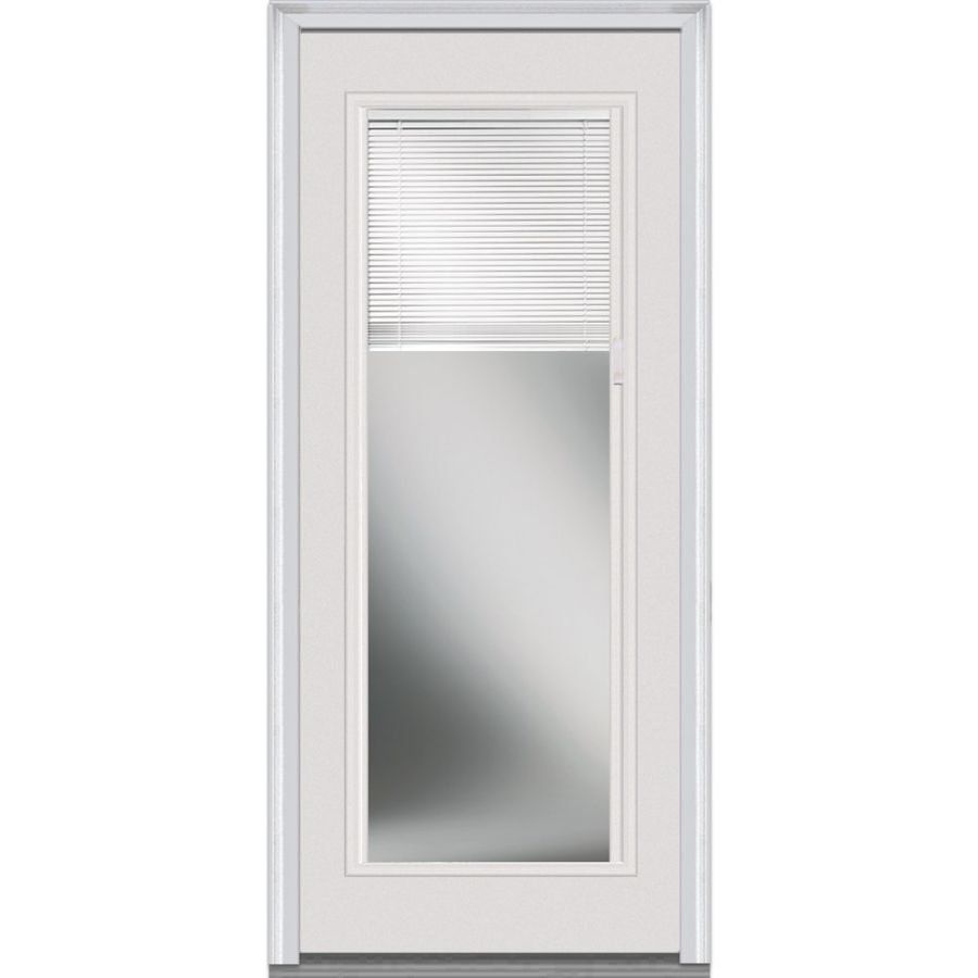 National-Door-Company-EFS686BLFS30R-Internal-Mini-Blinds-Clear-Glass-Full-Lite-Fiberglass-Smooth-Prehung-Right-Hand-In-Swing-Entry-Door
