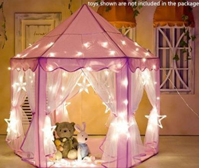 Outdoor-Indoor-Princess-Castle-Play-TentsSamersen-Large-Kids-Playhouse-with-Smile-Tent-Light-40-Small-Star-Lights6-Middle-Hang-Star-Led-Light6-Large-Hang-Star-Led-Light