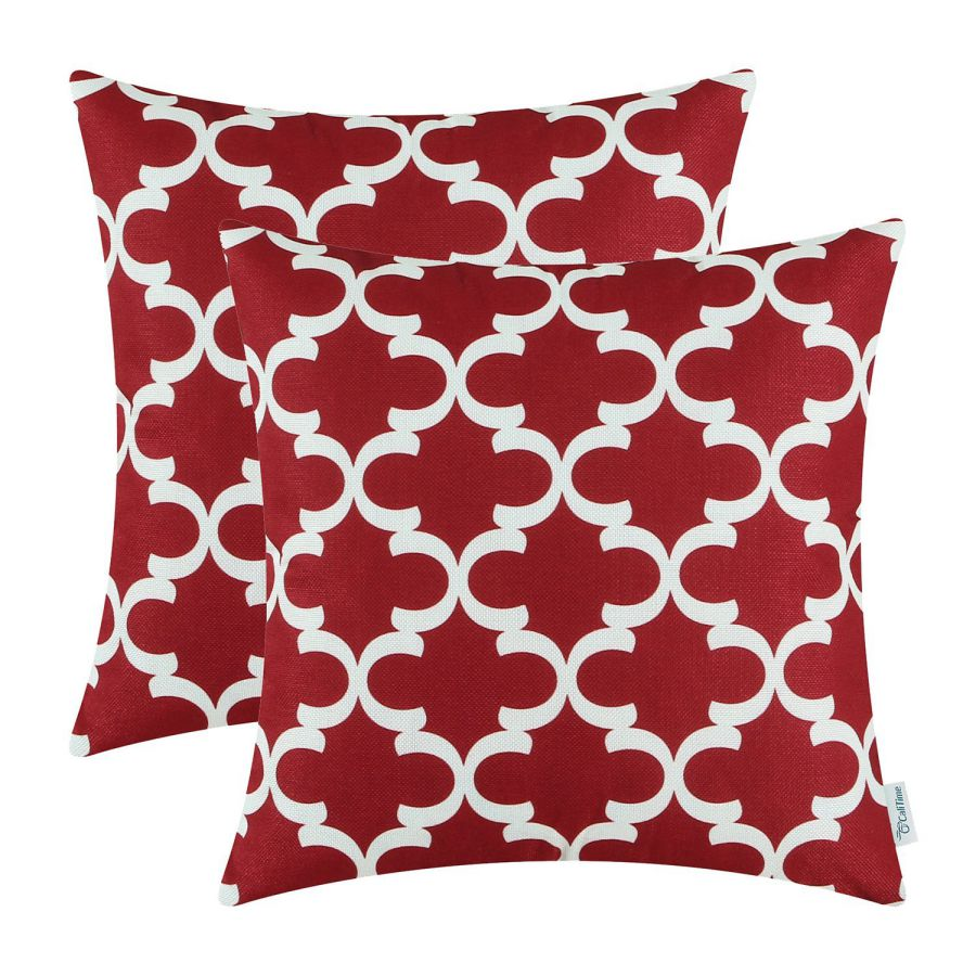 Pack-of-2-CaliTime-Throw-Pillow-Covers-18-X-18-Inches-Quatrefoil-Accent-Geometric-Burgundy