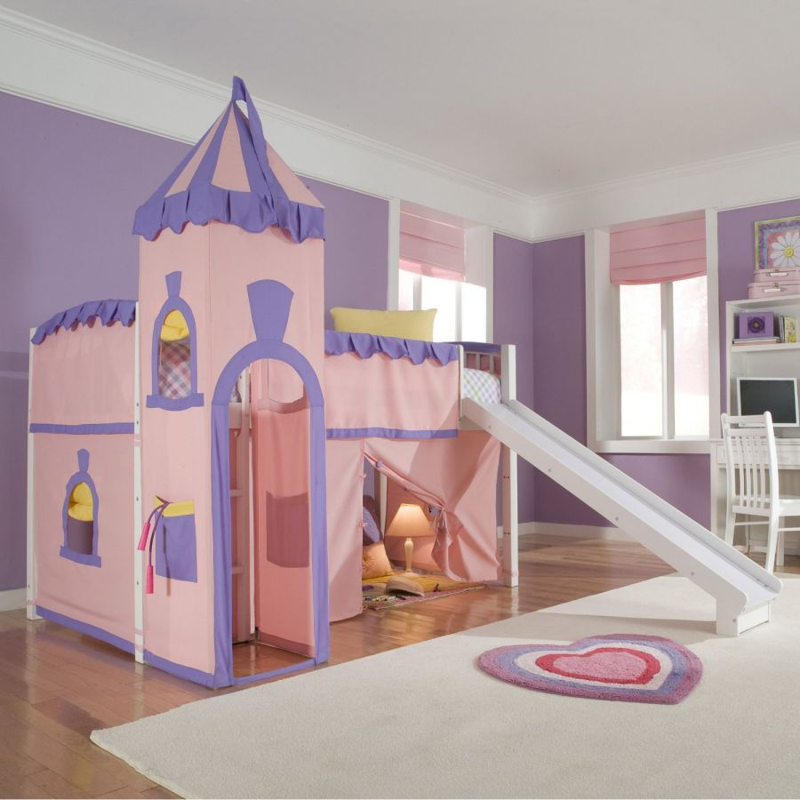 Schoolhouse-Twin-Princess-Loft-Bed-with-Slide-Perfect-for-Your-Girls-Bedroom-Furniture-Set