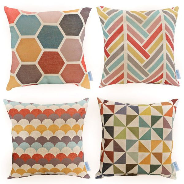 WOMHOPE-4-Pack-18-x-18-Inch-Colorfull-Stripe-Vintage-Style-Cotton-Linen-Square-Throw-Pillow-Case-Decorative-Cushion-Cover-Pillowcase-Cushion-Case-for-SofaBedChairAuto-Seat-C-Set-of-4