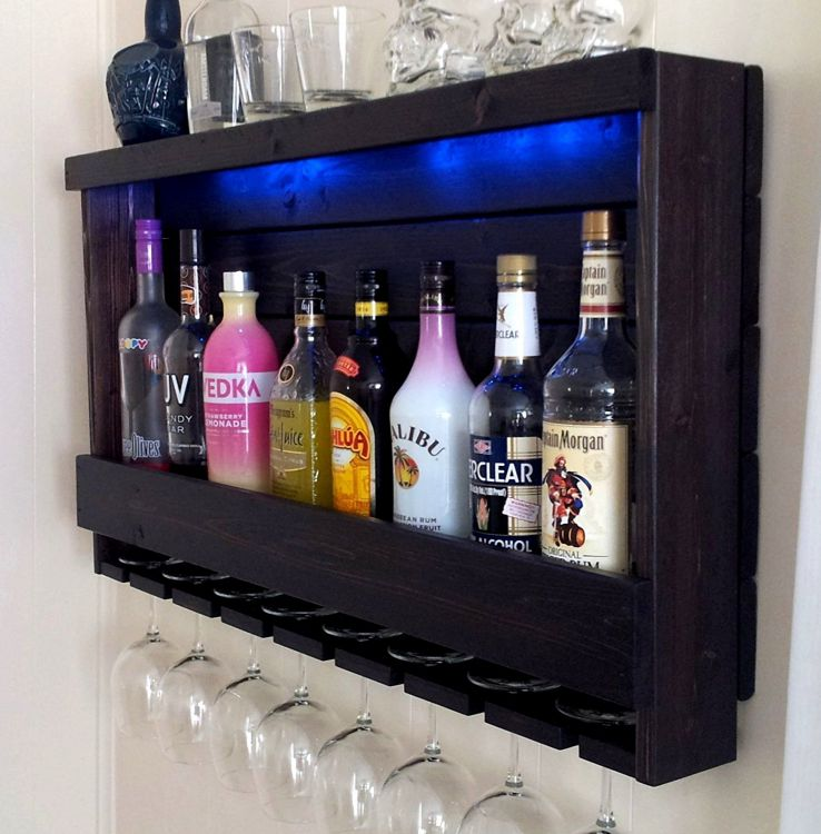 Wine-Rack-Liquor-Cabinet-Shown-in-Dark-Brown-Espresso-Finish-Shown-with-Blue-LED-Recessed-Lights