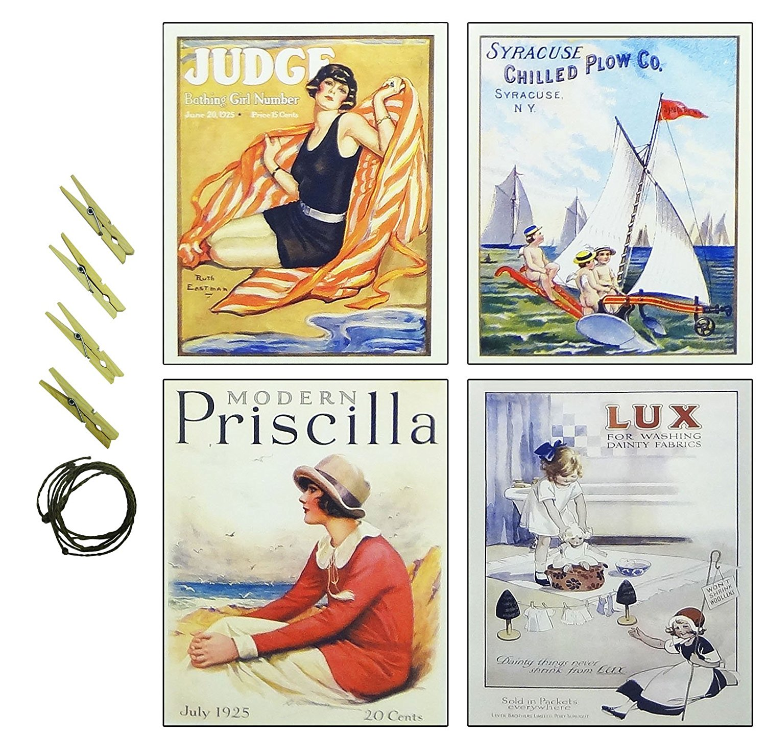 "4 Pack 8"" x 10"" Prints Beach Boat Women French Vintage Art Poster Wall Decor Unique Top Fun Inexpensive College Dorm Supplies Decoration Present Idea Best Stocking Stuffer Student Unisex Girl Teen Boy"