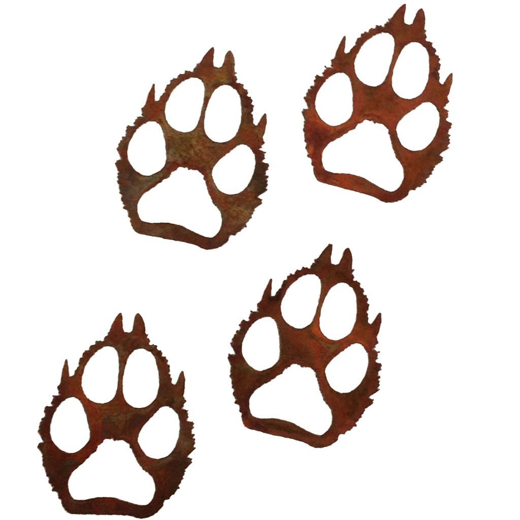 7055 Inc Wolf Paws Metal Wall Art, Natural Rust Patina