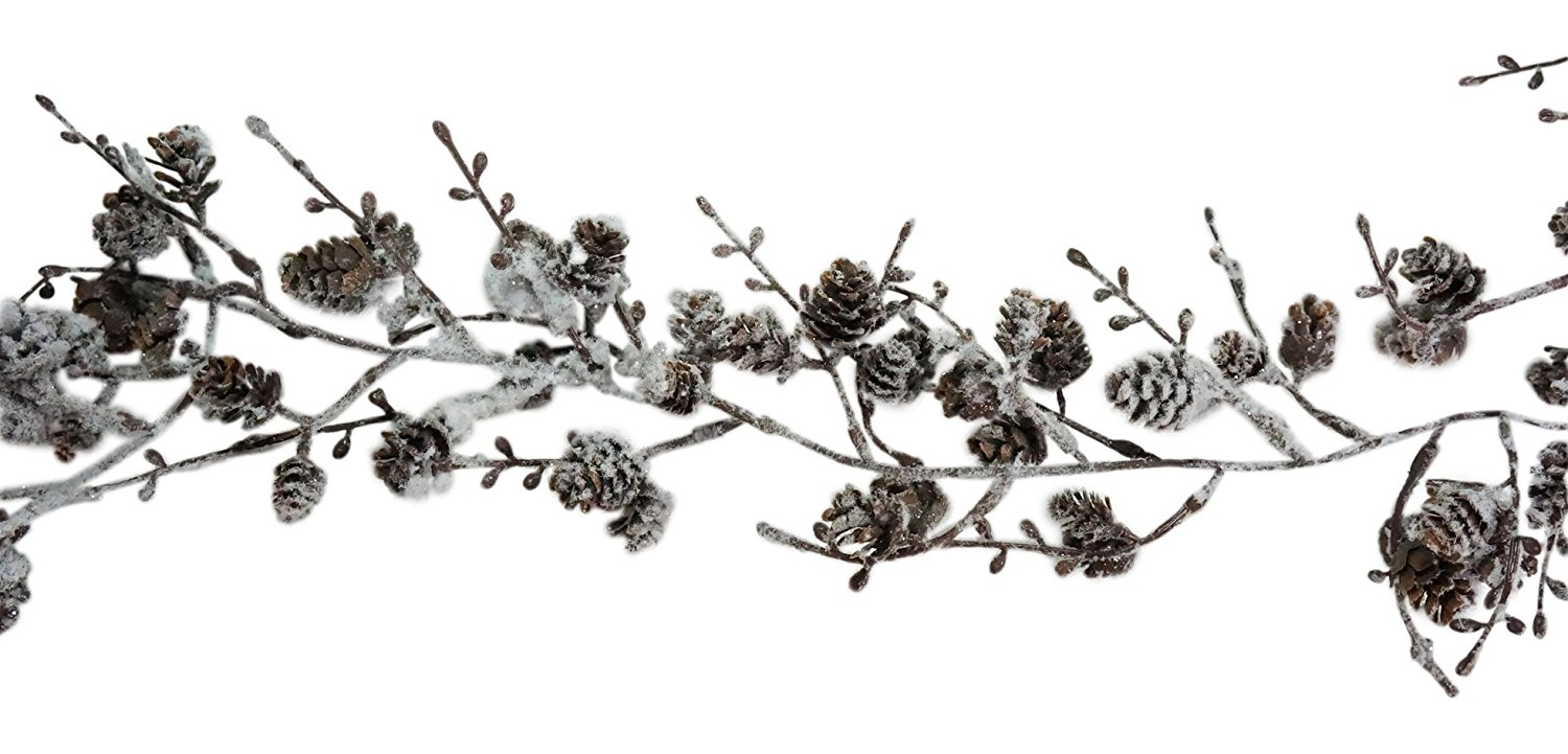 72 Inch (6 Foot) Flocked Snow-Covered Twig and Mini Pinecone Garland Holiday Decor