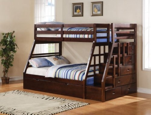 Acme 37015 Jason Twin/Full Bunk Bed with Storage Ladder and Trundle, Espresso Finish