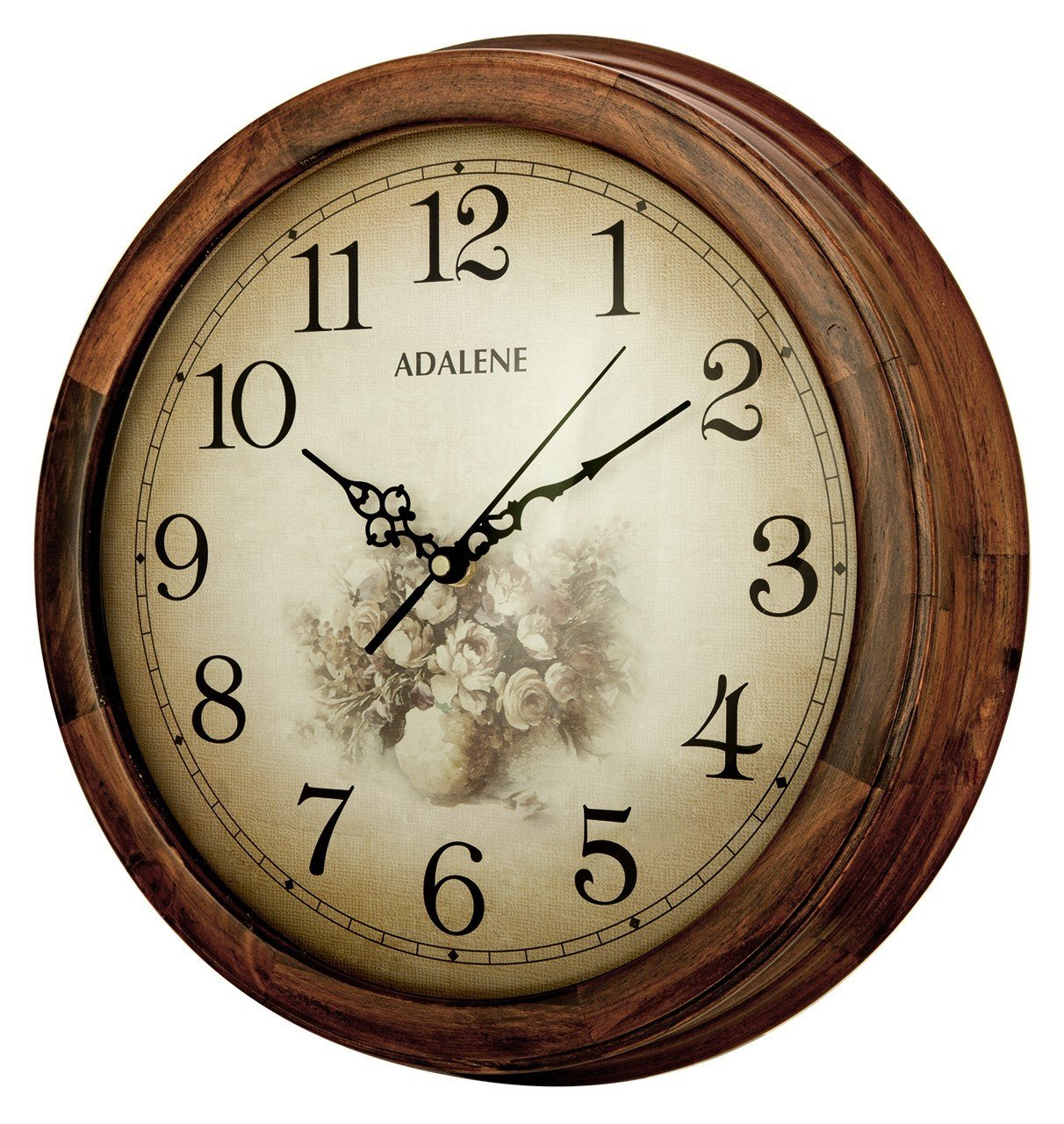Adalene 14-Inch Wall Clock Large Decorative Living Room Clock - Quiet Battery Operated Quartz Analog Silent Wood Wall Clock - Round Sepia Flower Dial with Fancy Arabic Numerals, Wooden Frame