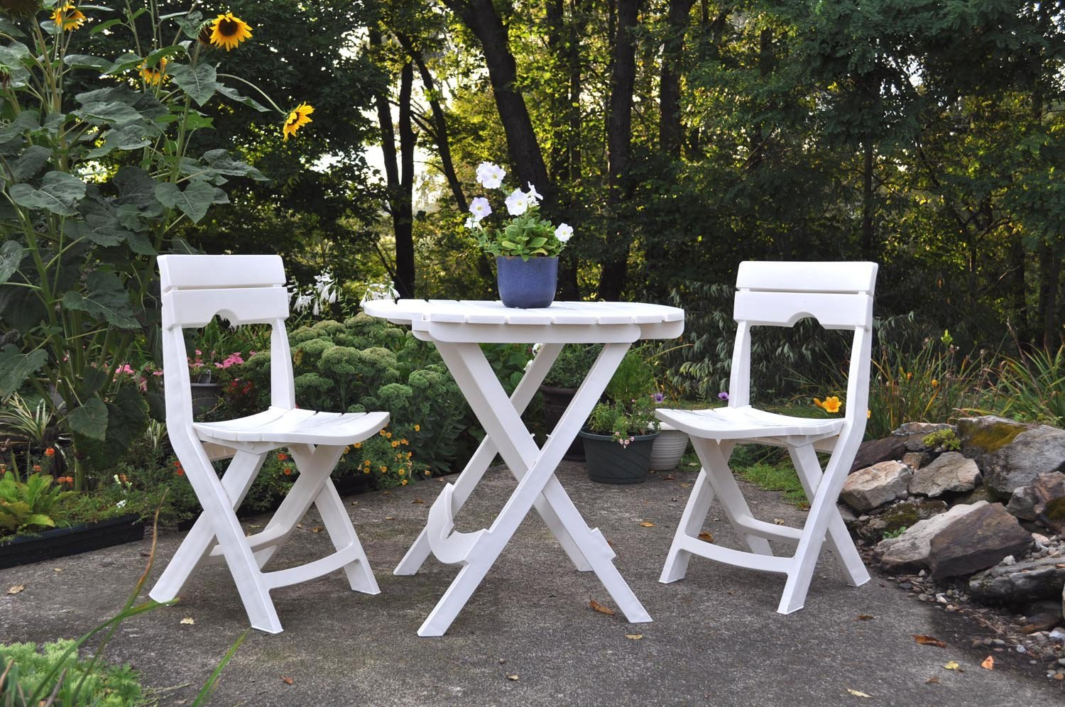 Adams Manufacturing 8590-48-3731 Quik-Fold® Cafe Bistro Set, White