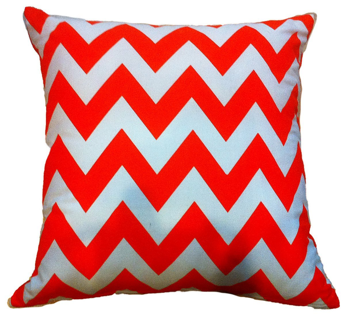 "Artiwa Contemporary Zig Zag Orange and White 18""x18"" Canvas Cotton Sofa Bed Throw Decorative Pillow Case, Gift Idea"