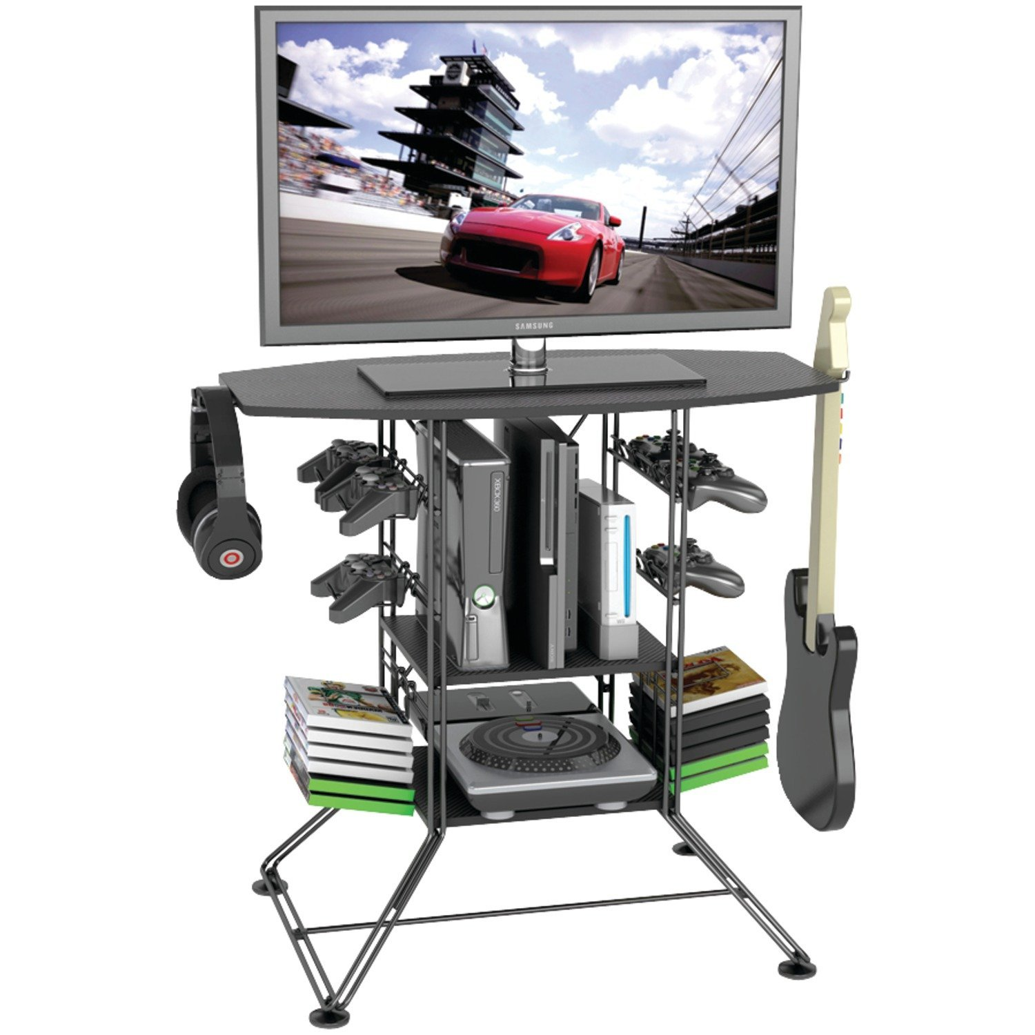 "Atlantic Black Centipede Game Storage and 37"" TV Stand"