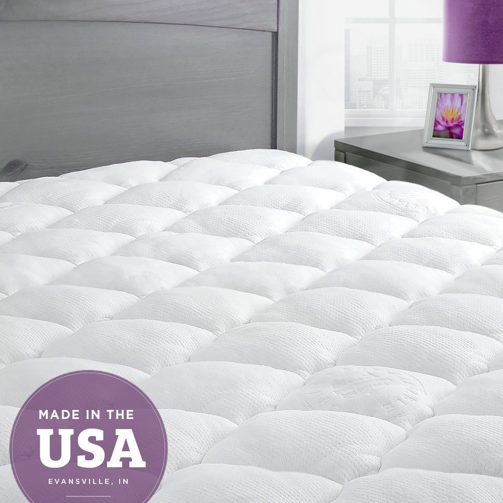 Bamboo Mattress Pad with Fitted Skirt - Extra Plush Cooling Topper - Made in the USA, Queen