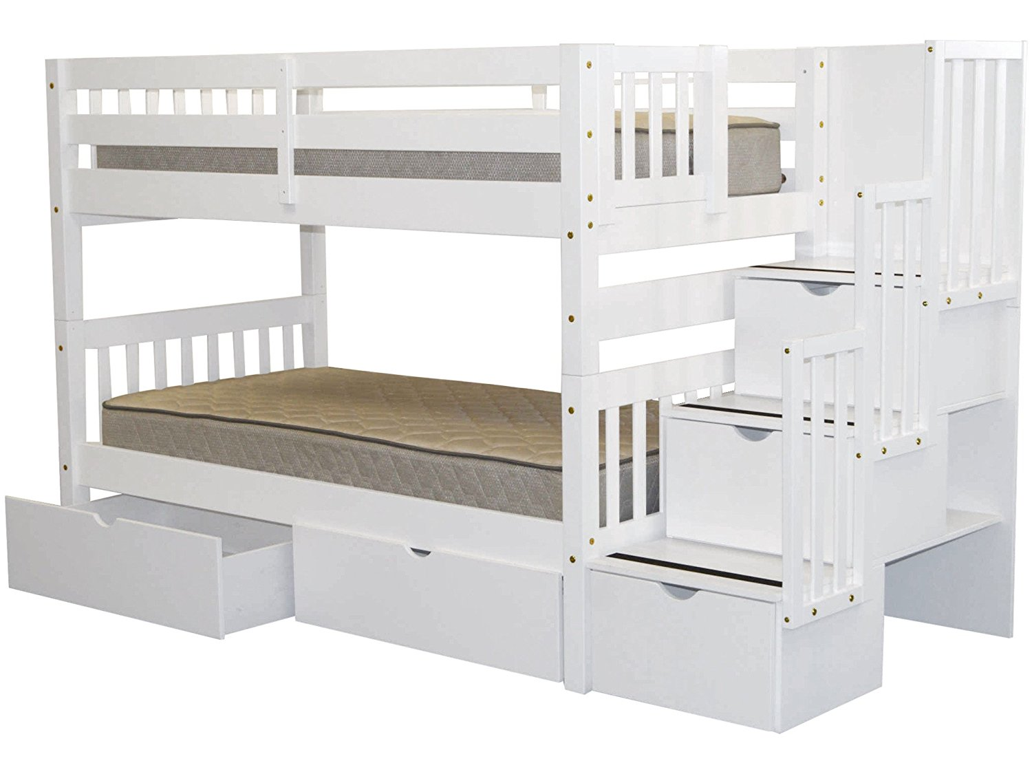 Picture of: Elegant And Modern White Bunk Beds With Storage
