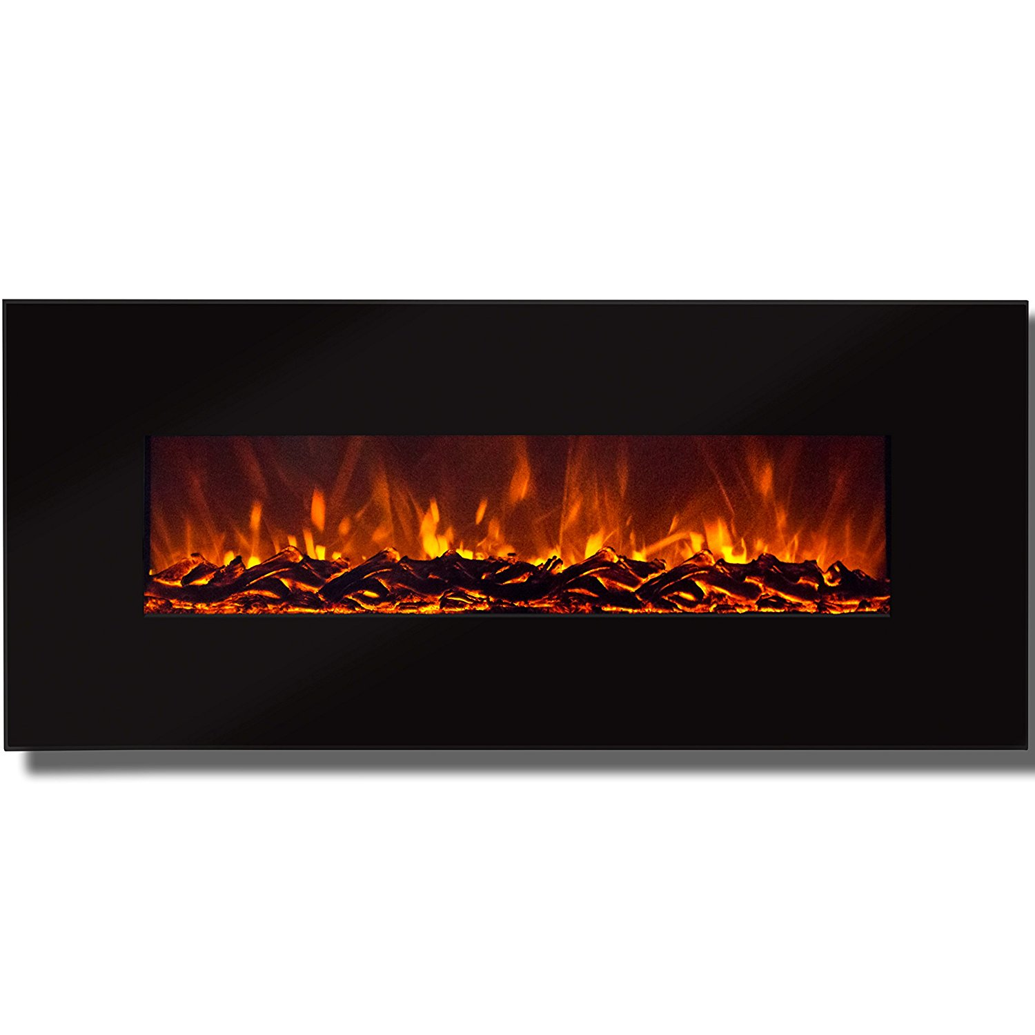 "Best Choice Products 50"" Electric Wall Mounted Fireplace Heater Smokeless Ventless Adjustable Heat"