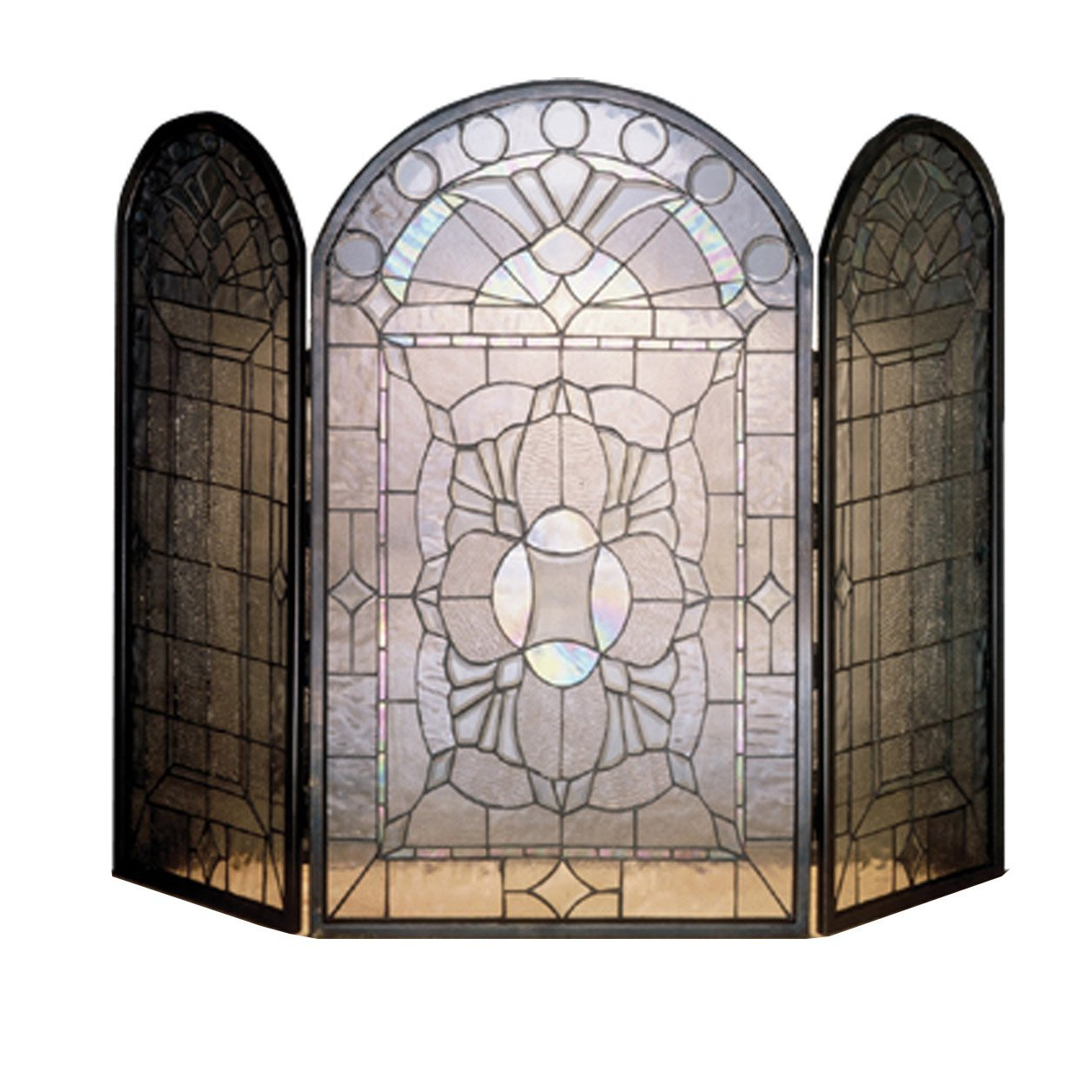 Beveled Glass Clear Folding Fireplace Screen