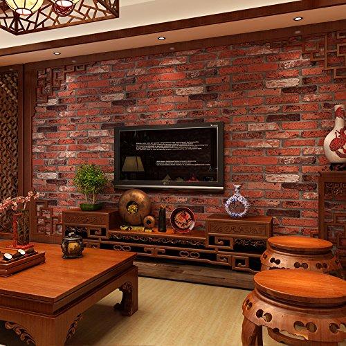 "Bloss Modern Faux Brick Stone Textured Wallpaper Roll Superior Non-woven Brick Blocks Home Room Decoration 20.8"" x 393.7"""