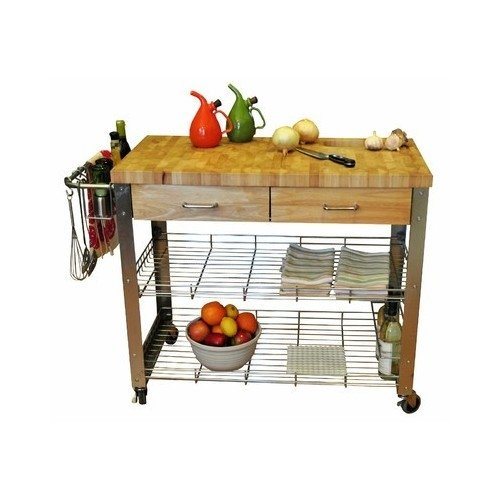 Butcher Block Island Kitchen Cart Stainless Steel Wood Table Counter Top Cutting Board