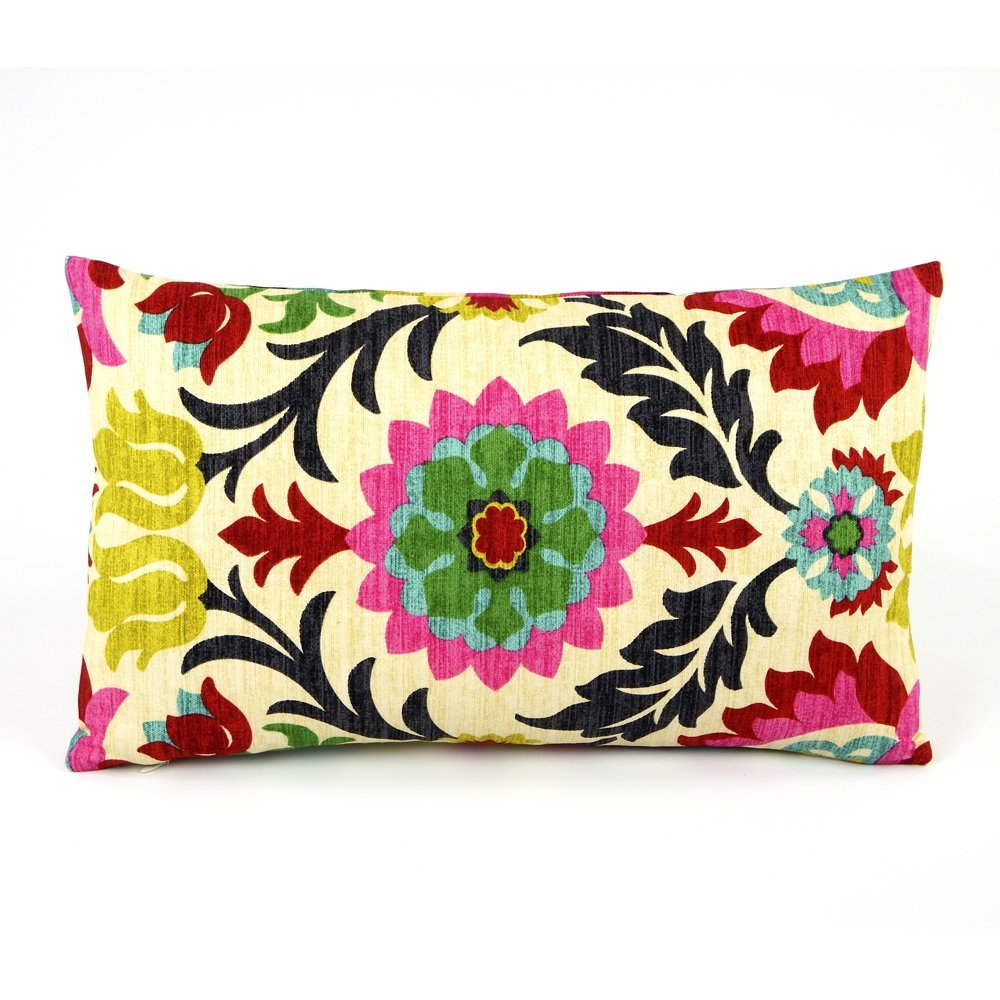 Chloe & Olive Cinco de Mayo Collection - Cotton Floral Designer Decorative Throw Pillow Cover - Reversible Fashion Rectangle Pillow Cover (Colorful, Red, Lumbar, 1 Accent Case for 12x20-Inch Insert)